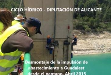 Proceso de desmontaje de la impulsión de abastecimiento a Guadalest desde el pantano